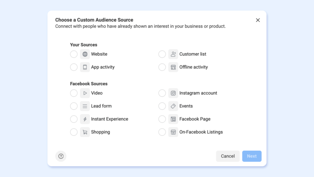 custom audiences - how to select on Facebook for Travel retargeting campaigns