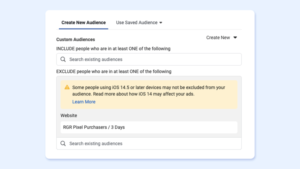 Facebook platform to create audience exclusions for travel remarketing ads