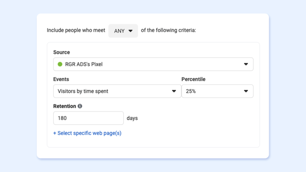How to add visitors by time spent - Facebook tourism retargeting ads